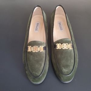 Bally/Green Suede With Gold Buckel Shoes/ Size 7